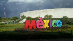 Bright Mexico welcome with a rainbow